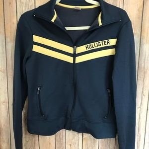 {Hollister} Navy and yellow collared zip jacket